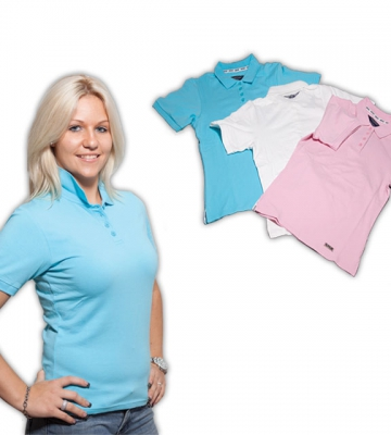 Polo shirt dames S-M-L-XL-XXL roze- wit-turkuoois [ART 156] 40,96€ BTW inb